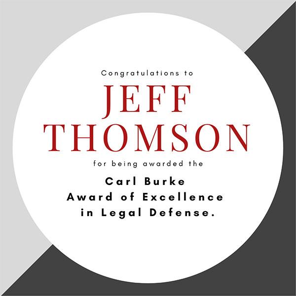 Congratulations Jeff Thomson Recipient of the Carl Burke Award